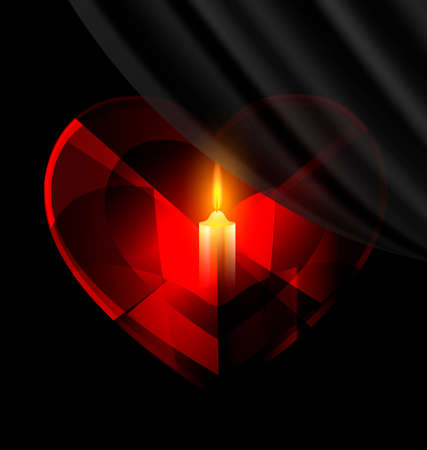 vermeil: dark background and red heart-crystal with candle inside Illustration