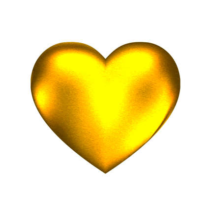 a white background and a large solid golden heart Stok Fotoğraf - 43897054