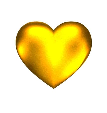 Un fondo blanco y un gran corazón de oro sólido Foto de archivo - 43897054