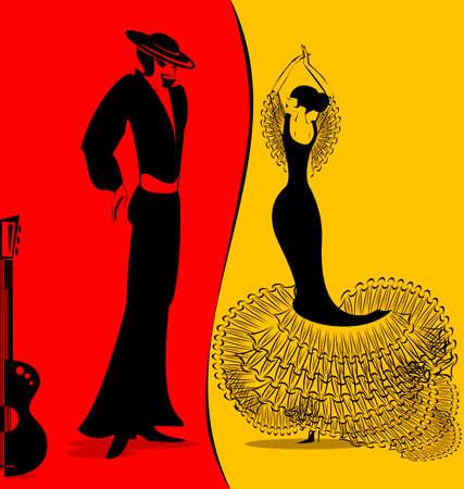 추상 빨간색 - 노란색 배경에 스페인어 댄서의 커플은 일러스트