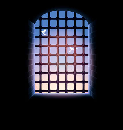 sunup: morning sky, birds, stone tunnel, window and large lattice, illuminated from the outside