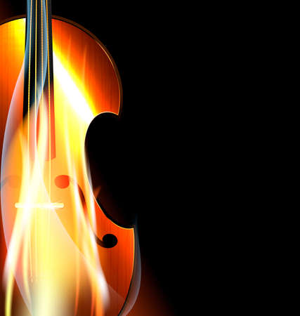 fiddlestick: on black background is the abstract burning stringed instrument Illustration