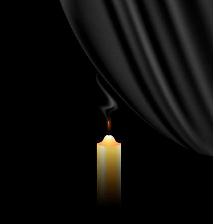black background and a fireless candle with black veil Ilustração