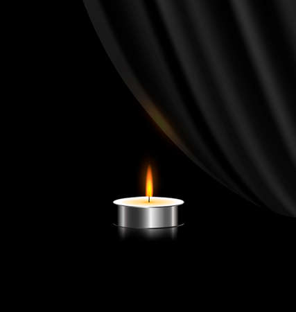 black background and a small burning candle with black veil Ilustração
