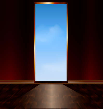 leading: abstract room with a door leading to the sky