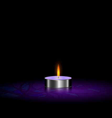 black background and a small purple burning candle