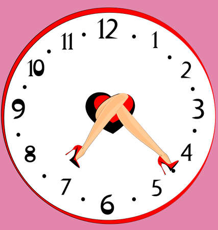 female legs: clock and abstract female legs with red shoes