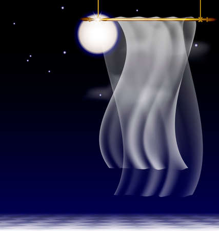 moonlit: in the moonlit nightly sky is an abstract white drape