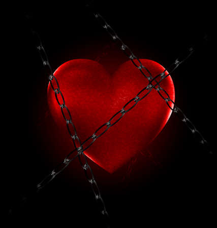 uneasiness: dark and a big red heart-stone with a black chain