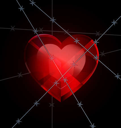 uneasiness: dark and a big red heart-crystal with wire Illustration