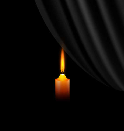 desolation: black background and a small burning candle with black veil Illustration