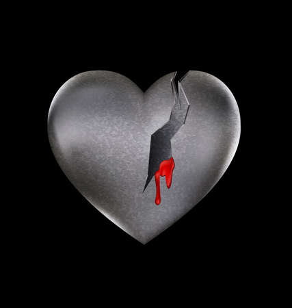 wounded heart: a dark background and a large broken heart-stone