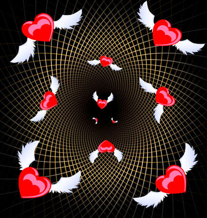 small flock: dark background with a golden mesh and a lot of flying crimson hearts