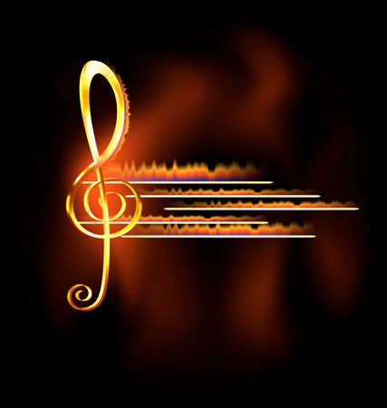 abstract dark background and big golden treble clef in fire Ilustracja