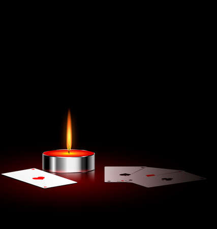 on a black background are burning candle and cards