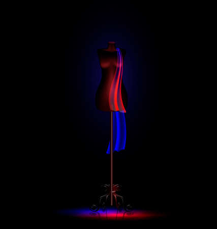 layman: a dark empty room and a black dummy with a blue-red cravat Illustration