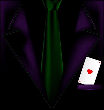 he is beautiful: the image of a mans suit with an ace in your pocket Illustration