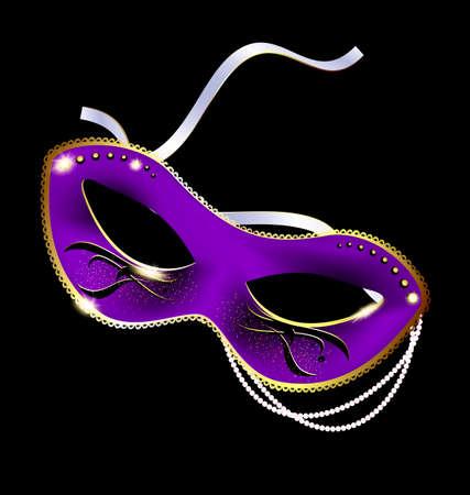 carnaval: fond noir et le masque de carnaval de la moitié ornée de perles et de ruban