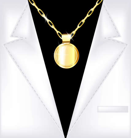 the image of a mans suit with jewel chain