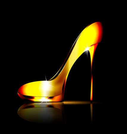 ladys: dark background and the golden ladys shoe-spiky Illustration