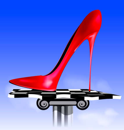 heelpiece: abstract sky and the red ladys shoe