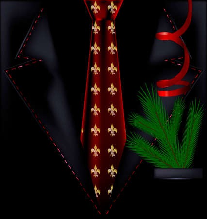 red tie: the image of a mans festive suit with a red tie
