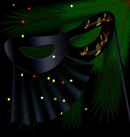 festive background and a carnival half mask decorated with veil