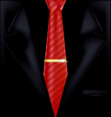 the image of a mans suit with a red tie