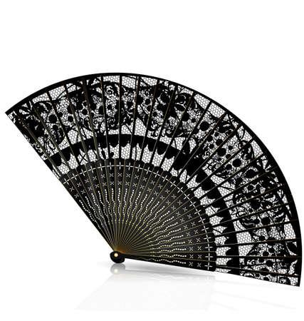 black fan: on a white background is old black fan Illustration
