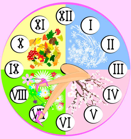 the summer clock and abstract female legs