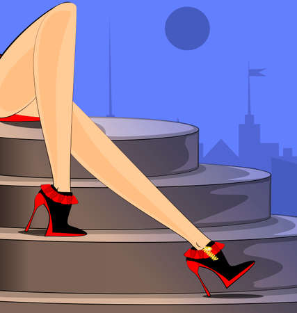 landscape of abstract city and female legs