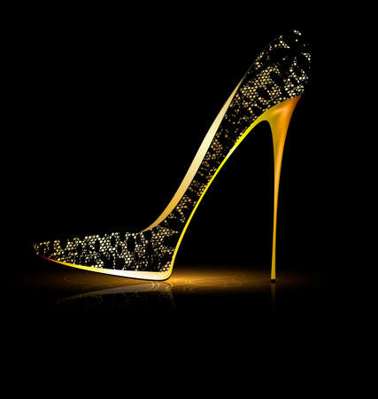 elegancy: black background and the black lace ladys shoe