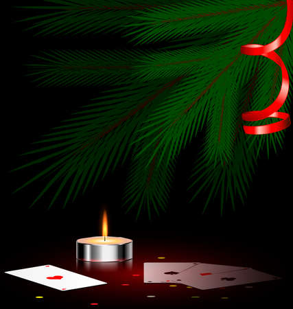 Christmas ree, small burning candle and cards