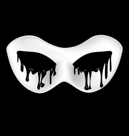 mysterious: black background and a white mysterious half-mask Illustration