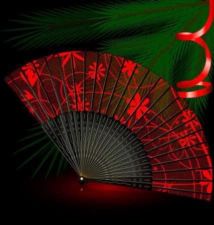 black fan: dark festive background and red black fan