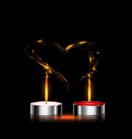 combust: black background and couple of candles in love