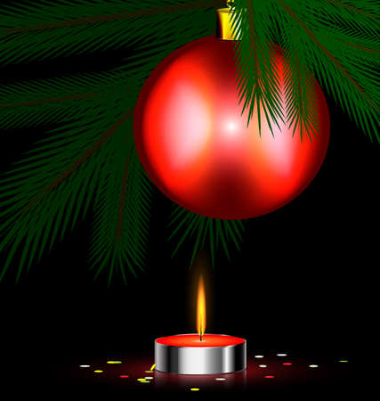 Christmas tree, small burning candle and ball