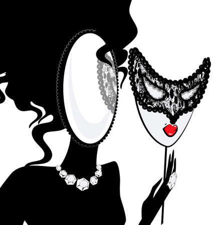 lady silhouette: abstract black silhouette of lady-mirror with mask