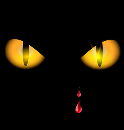 snoot: black background and two yellow eyes with red drops