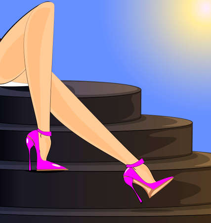 landscape of abstract stairs and female legs