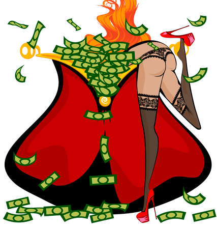seminude: red seminude girl and the large purse with money