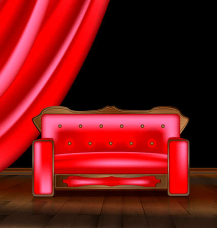 the large red sofa in a abstract red room Stock Photo