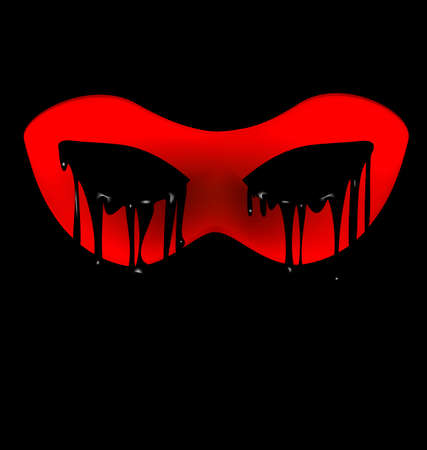 mysterious: black background and the red mysterious half-mask
