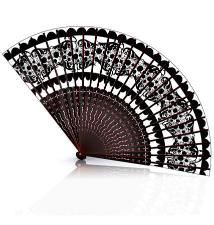 old times: white background and old black red fan