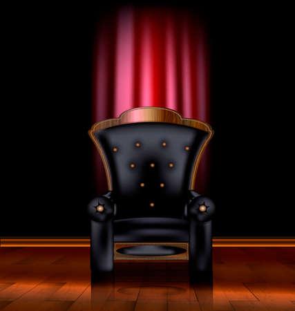 divan: the large black armchair in the dark room Illustration