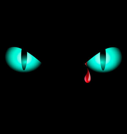 fearful: black background and two blue eyes with red drop Illustration
