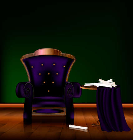 parquetry: the large purple armchair in the green room