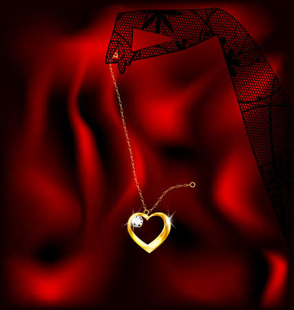 jewelry chain: a lace glove and a jewelry chain with a pendant heart