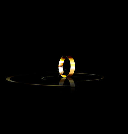 golden ring: dark background and the single golden ring Illustration