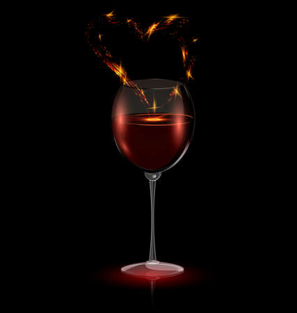 dark background and the glass of wine with abstract heart